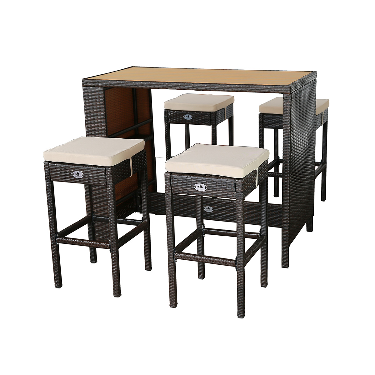 polyrattan bar sitztheke mit wpc tischplatte 4 hocker bicolour braun gartenfreude. Black Bedroom Furniture Sets. Home Design Ideas