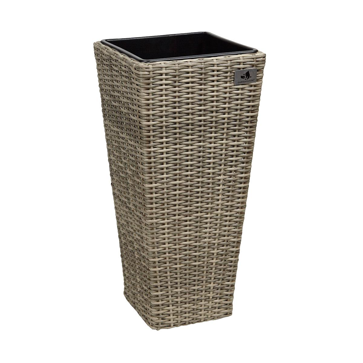 pflanzk bel polyrattan f r innen und au en 28 x 28 x 60 cm gartenfreude. Black Bedroom Furniture Sets. Home Design Ideas