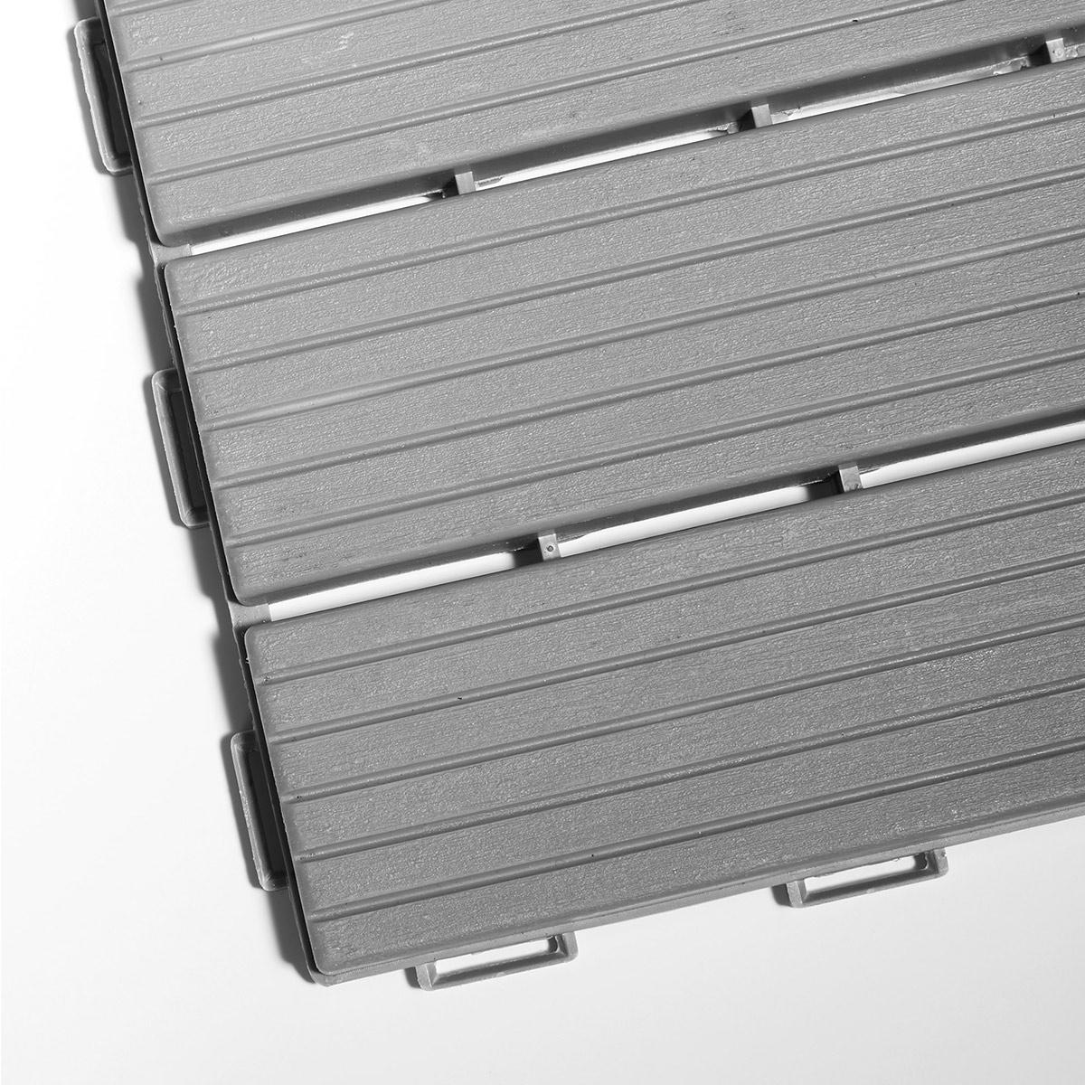 Kunststoff Bodenfliesen 9er Set 30 X 30 Cm Grau Gartenfreude