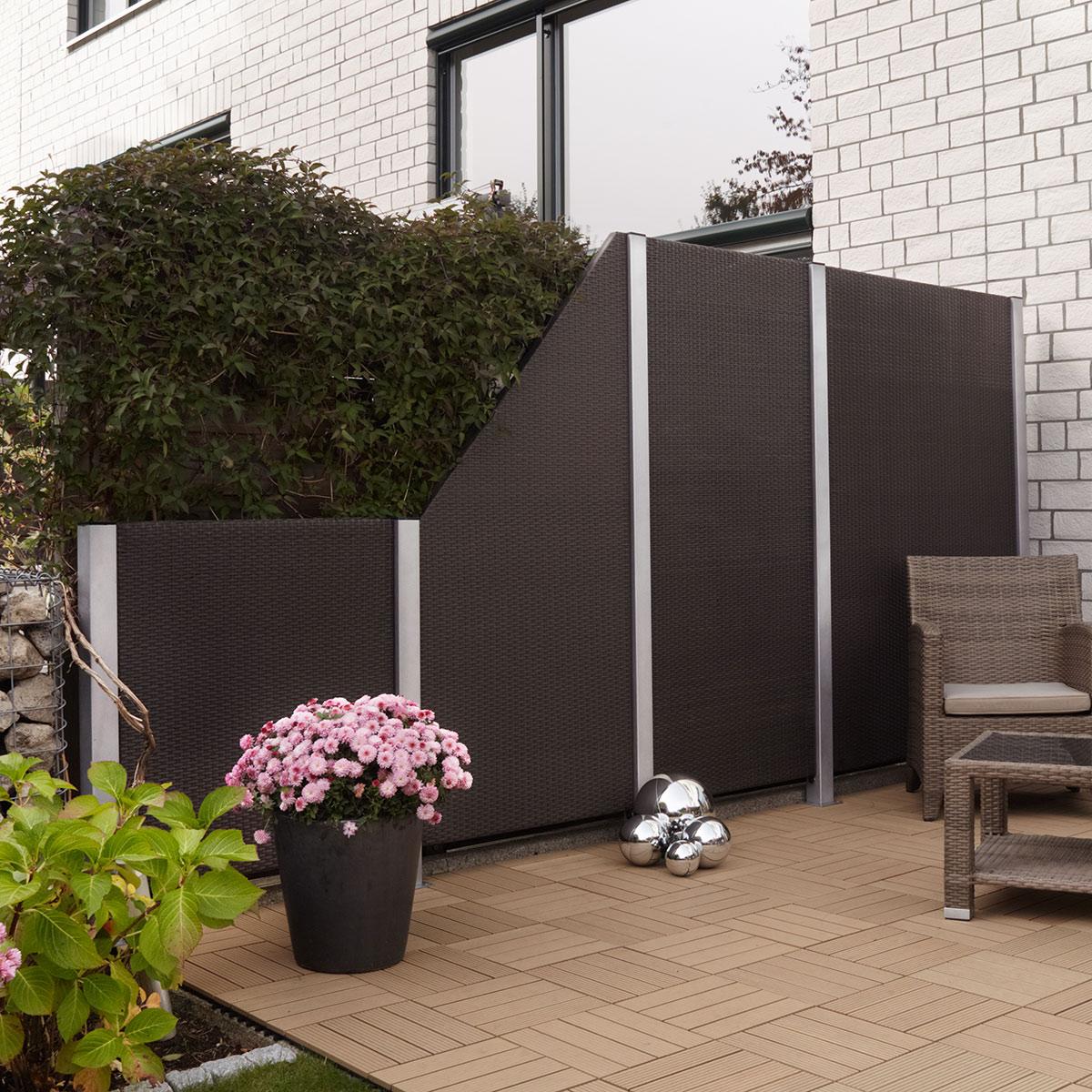 Polyrattan Zaun Element 120 x 4 x 180 cm, mocca, Alu Rahmen ...