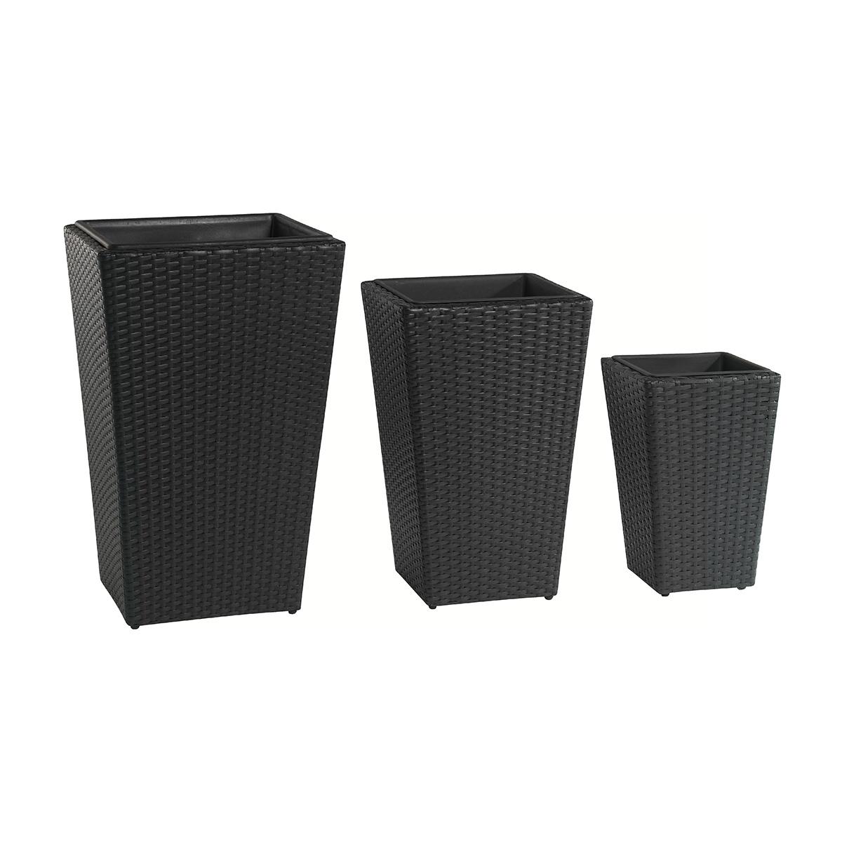 pflanzk bel polyrattan 3er set h68 cm h57 cm h47 cm schwarz gartenfreude. Black Bedroom Furniture Sets. Home Design Ideas
