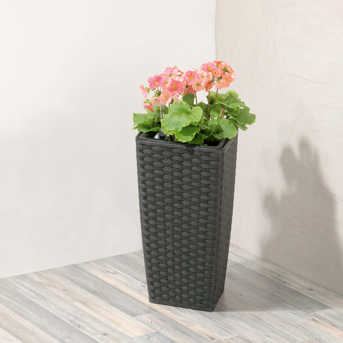 pflanzgefäß polyrattan mit bewässerungssystem, 26,5 x 26,5 x 50 cm