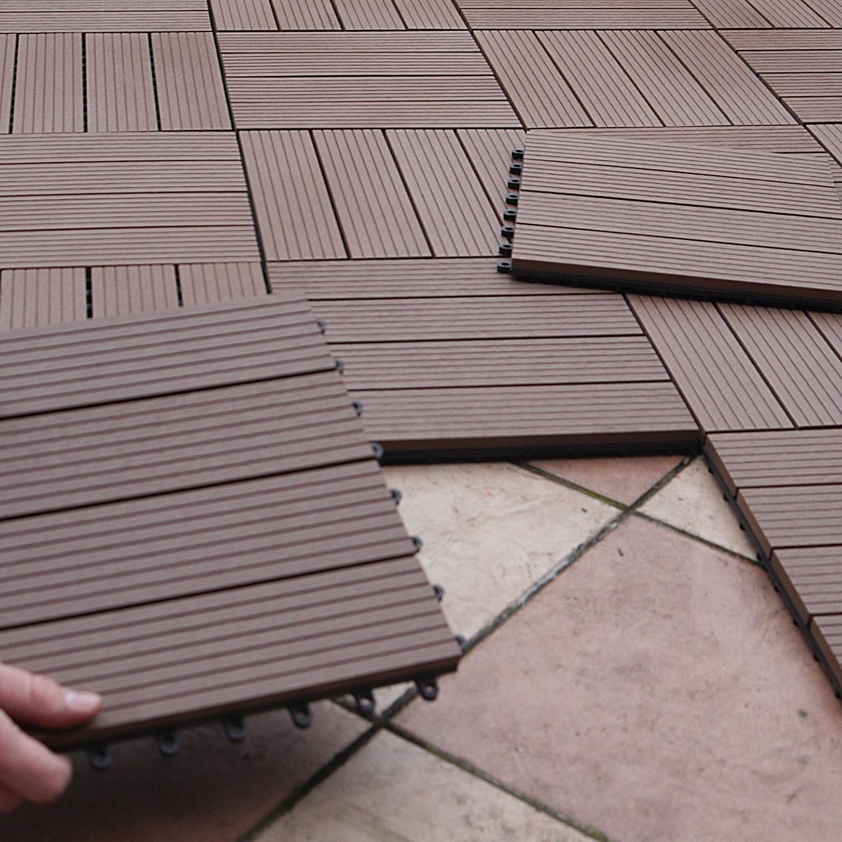 WPC Terrassen Fliesen 10er Set (ca. 0,9 M²), 30 X 30 Cm, Braun, Leicht  Verlegbar   Gartenfreude