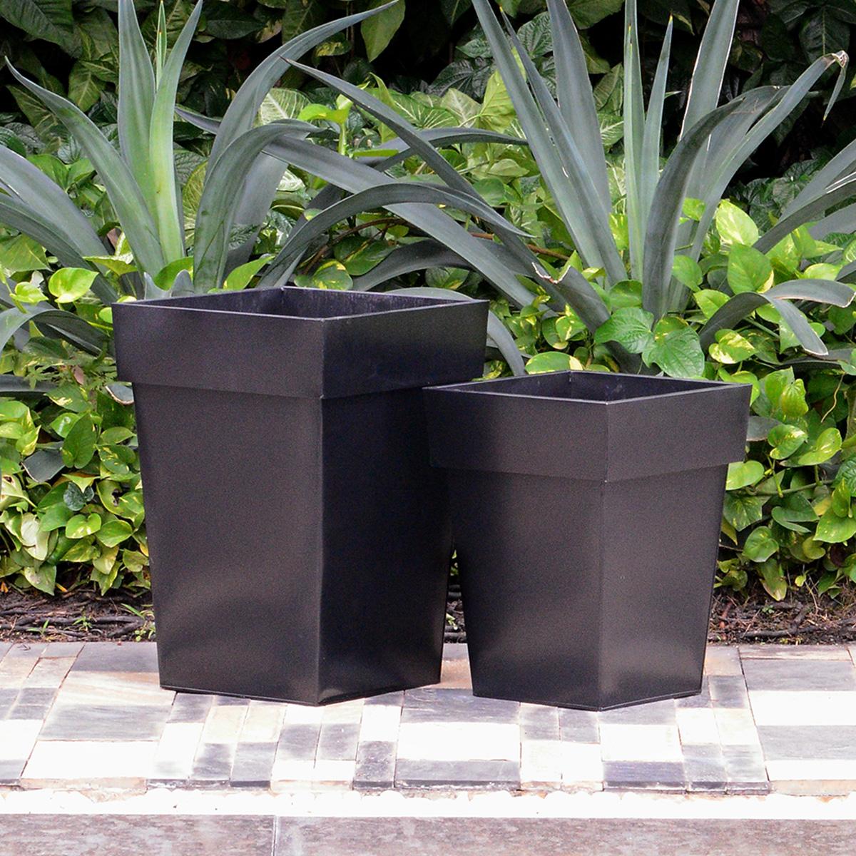 pflanzkübel zink 2er-set, h 50 cm, h 40 cm, schwarz - gartenfreude