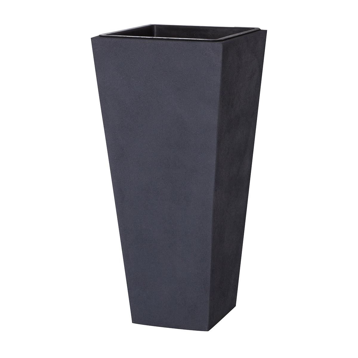 pflanzk bel fiberglas 28 x 28 x 60 cm sandstrahloptik kunststoffeinsatz grau gartenfreude. Black Bedroom Furniture Sets. Home Design Ideas