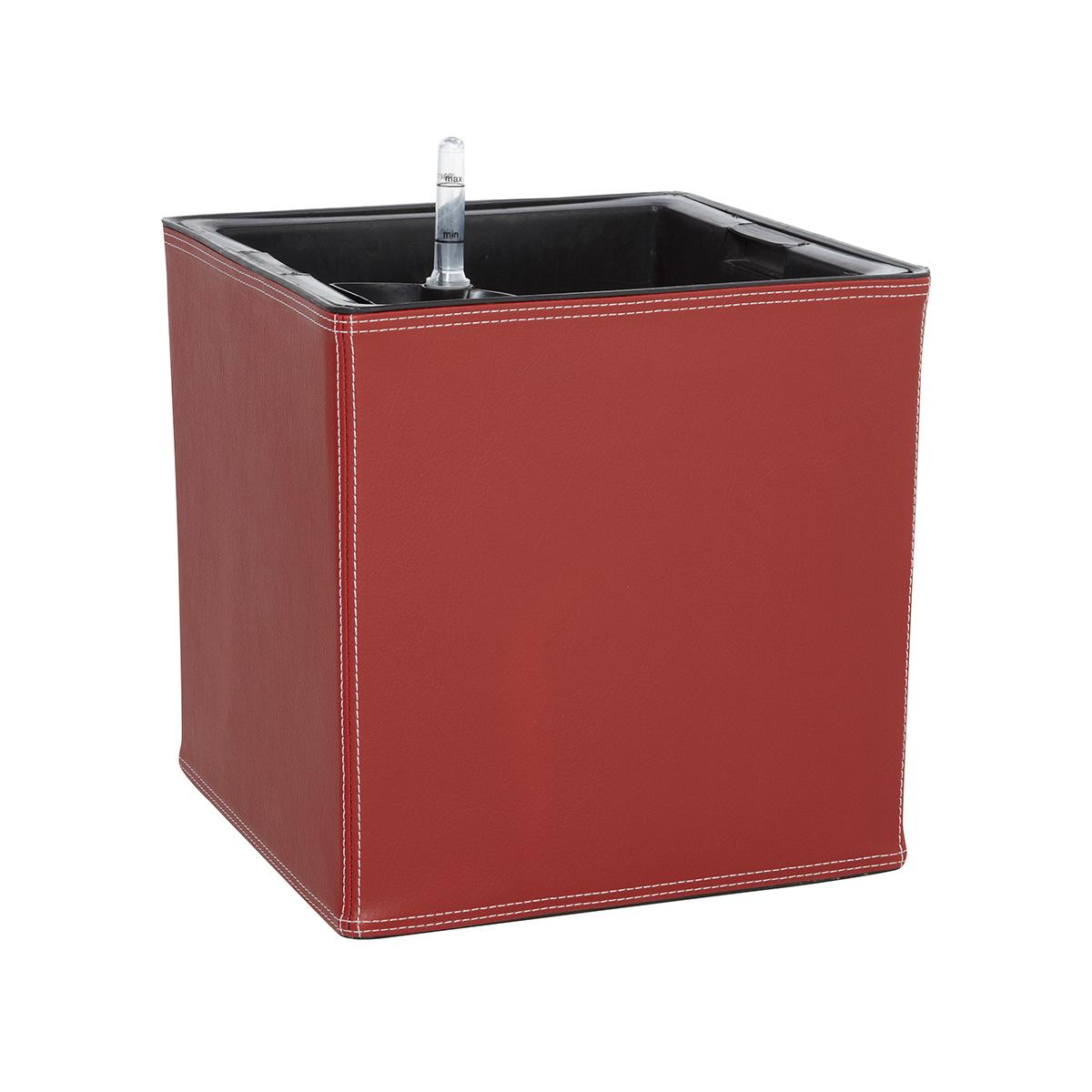 luxury collection pflanzk bel 31x31x31cm leder optik f r innen bew sserungssystem rot. Black Bedroom Furniture Sets. Home Design Ideas