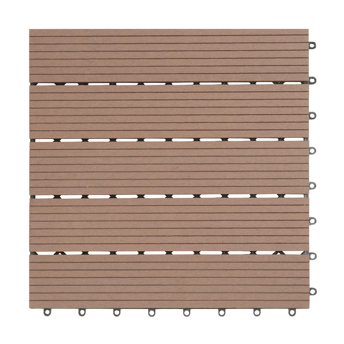 wpc (bambusholz/kunststoff) terrassenfliesen 6er-set, 40 x 40 cm