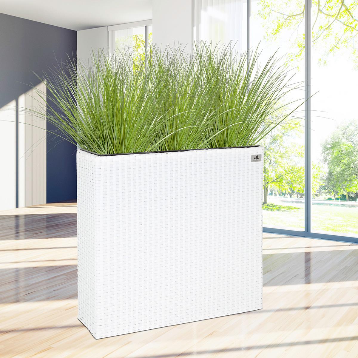 Raumteiler Pflanzkübel Polyrattan 76 x 26 x 73 cm, weiß - Gartenfreude