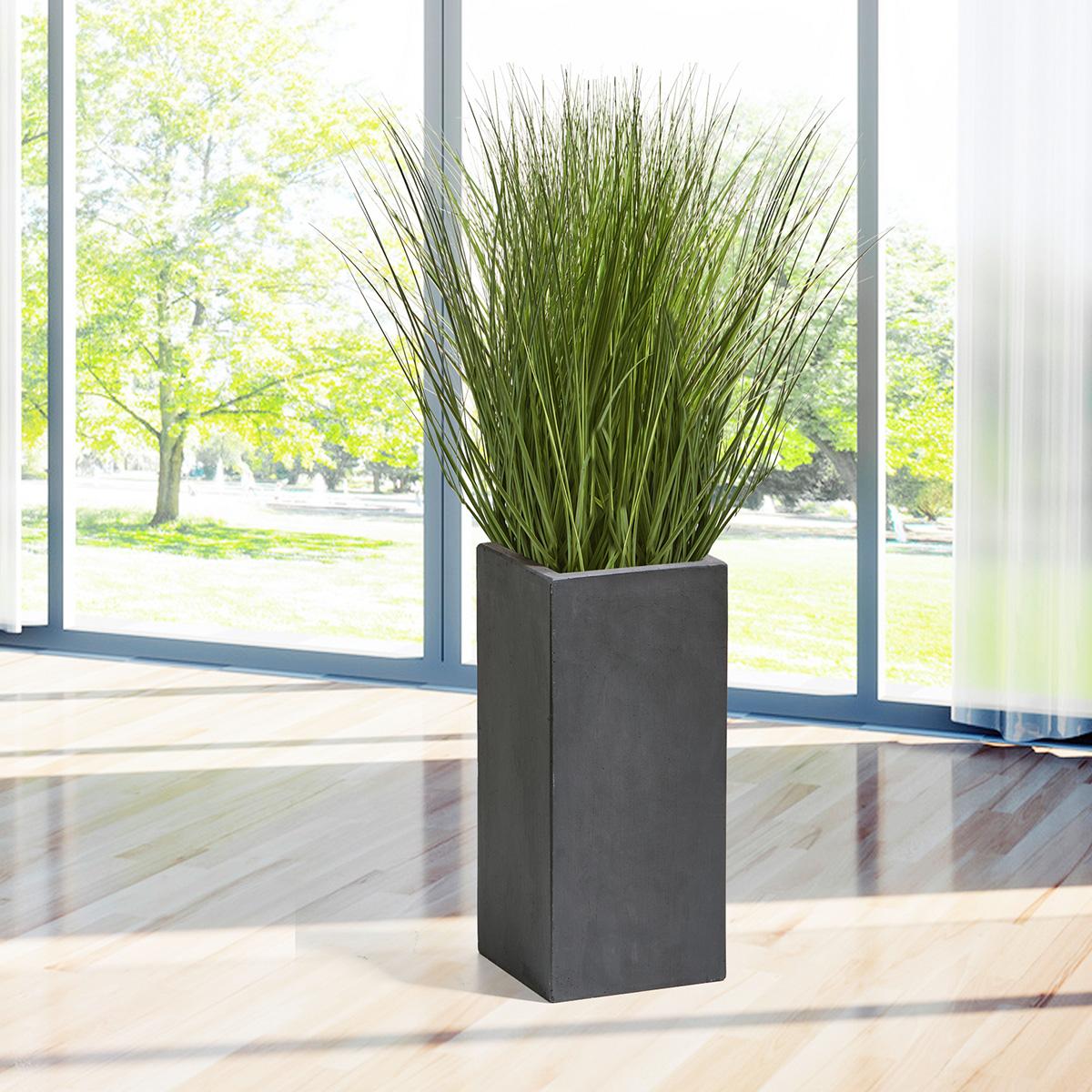 pflanzkübel fiberglas 23 x 23 x 50 cm (l x b x h), anthrazit